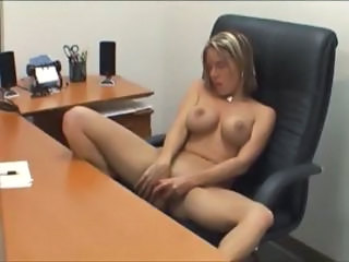 Amazing Blonde Masturbating  Office Secretary Silicone Tits