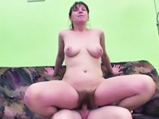 Hairy Mature Mom Old and Young Riding