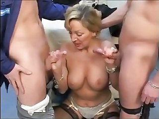 Blonde European French Handjob Mature Mom Old and Young Threesome