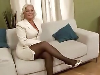 Blonde Mature Mom Secretary Stockings