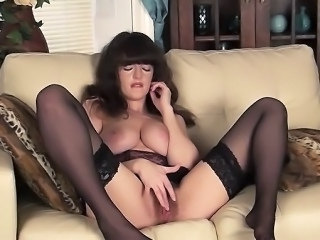 Babe Brunette Hairy Masturbating Natural Stockings