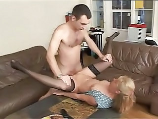 European German Mature Mom Old and Young Small Tits Stockings