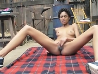 Ebony Masturbating  Outdoor Small Tits