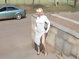 Amateur Blonde  Outdoor Public Russian