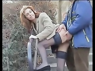 Clothed  Outdoor Stockings Wife