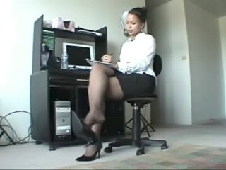 Amateur Amazing Ebony Feet Legs  Secretary Skirt Stockings