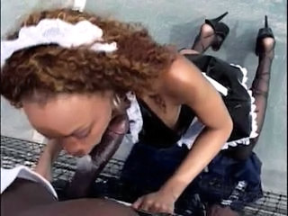 Blowjob Clothed Ebony Maid  Outdoor Uniform