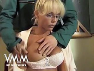 Blonde Glasses Lingerie  Silicone Tits Teacher