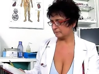 Brunette Doctor Glasses Mature Mom Uniform