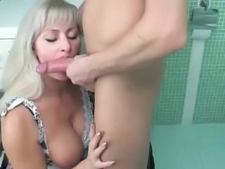Bathroom Big Tits Blonde Blowjob Cute  Natural Russian