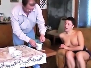 Amateur Daddy Daughter Kitchen Old and Young