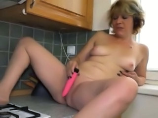 Dildo Kitchen Masturbating Mature Mom Small Tits Toy