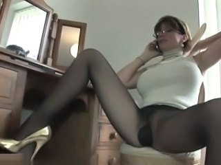 Amazing Big Tits Glasses Legs  Pantyhose Secretary