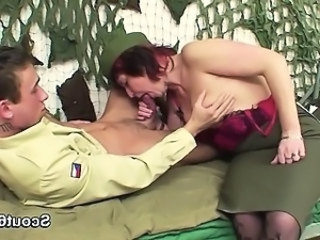 Army Blowjob European German Mature Mom Old and Young Redhead Uniform