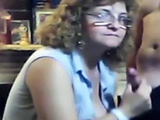 Amateur Glasses Handjob Mature Wife