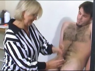 Blonde  Glasses Handjob Mature Mom Old and Young