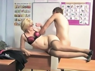 Blonde Glasses Mature Mom Old and Young Russian School Stockings Teacher