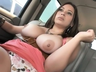 Amazing Big Tits Car Cute Latina  Natural Nipples