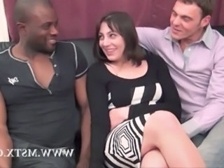 Brunette Interracial  Threesome