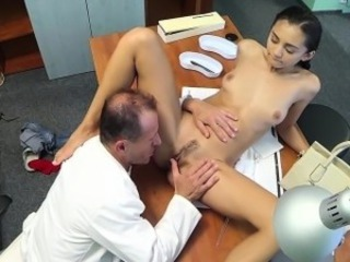 Brunette Daddy Doctor Licking  Old and Young Small Tits
