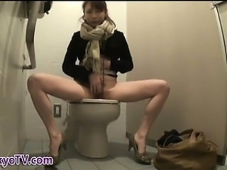 Asian HiddenCam Japanese Masturbating  Toilet Voyeur