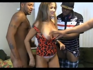 Amazing Cute Gangbang Interracial