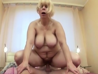 Blonde Chubby Mature Mom Old and Young Riding