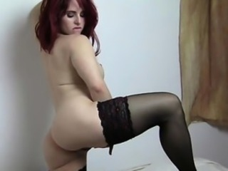Amazing Ass Cute  Redhead Solo Stockings