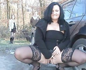 Brunette Masturbating Mature Outdoor Public Stockings