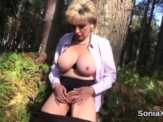 Big Tits British European Masturbating  Outdoor