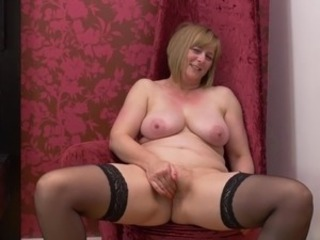 Masturbating Mature Natural Stockings