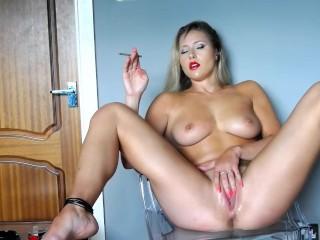 Amazing Blonde Masturbating  Smoking