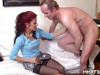 European German  Older Redhead Stockings