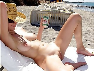 Amazing Beach Big Tits Natural Shaved Wife