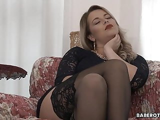 Amazing Blonde Masturbating  Solo Stockings