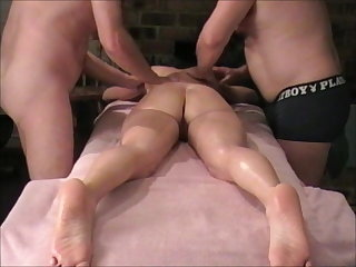 Amateur Massage Oiled Swingers Threesome Wife