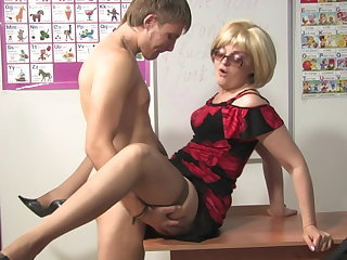 Family Glasses Mature Mom Old and Young Russian Stockings Teacher