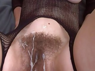 Cumshot Fishnet Hairy