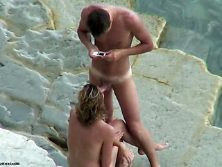 Beach Blowjob Girlfriend Nudist Outdoor Voyeur