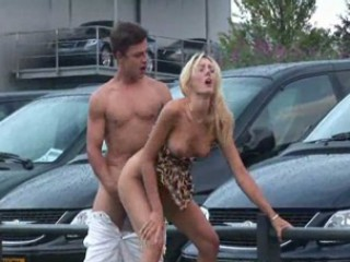 Babe Blonde Car Doggystyle Outdoor Public