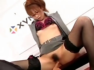 Asian Babe Cute Glasses Hairy Japanese Secretary Small Tits Stockings