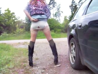 Car Dildo Lingerie Outdoor