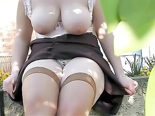 Big Tits Outdoor Stockings