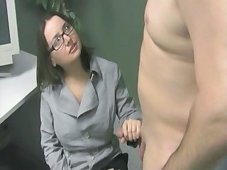 Glasses Handjob Office Secretary