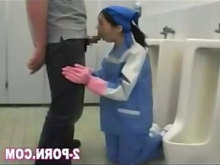Asian Blowjob Clothed Public Toilet Uniform
