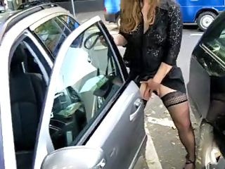 Amateur Car Masturbating Outdoor Public Stockings