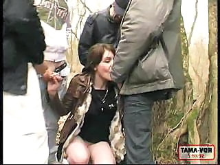Amateur Blowjob Clothed Gangbang Outdoor