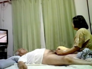 Asian Daddy Handjob HiddenCam Small cock Voyeur