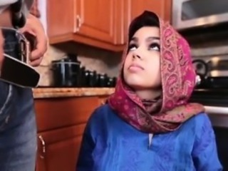 Arab Babe Clothed Cute Kitchen
