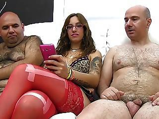 Daddy Glasses Latina Old and Young Small cock Stockings Tattoo Threesome